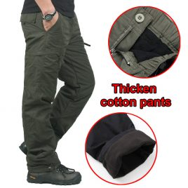 Warm Double Layer Men's Outdoors Cargo Pants For Tactical Sports- Multi Pockets Baggy Cotton Trousers