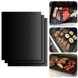 3pcs Reusable Heat Resistant Non-Stick BBQ Grill Mat