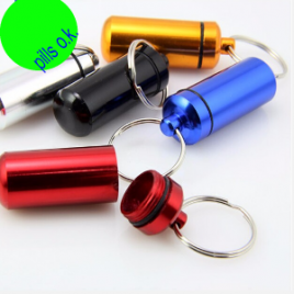 Outdoors Small Multi-color Aluminum Alloy First Aid Key-chain Cartridge