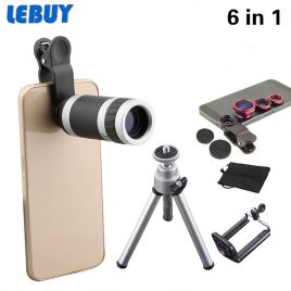 New 6in1 Phone Camera Lens Fish Eye Wide Angle Lens+Mini Tripod For iphone 6s S6