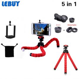 New 5in1 Phone Camera Kit 3in1 Fish Eye Wide Angle Macro Mini Tripod For Sumsung S3 S4 S5 S6 6s