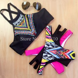 New Black Geometry Print High Neck Push Up Slim Bikini Swimwear Swimsuit