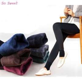 Thick Winter Knitting High Waist Lady's Leggings- warm skinny pants for women