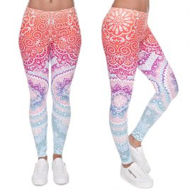 High Waist Round Aztec Printed Women Legging Pants