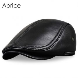 mens-genuine-leather-beret-hat